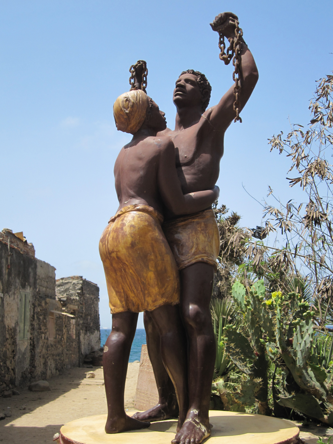 statue of slavery freedom Goree island Senegal